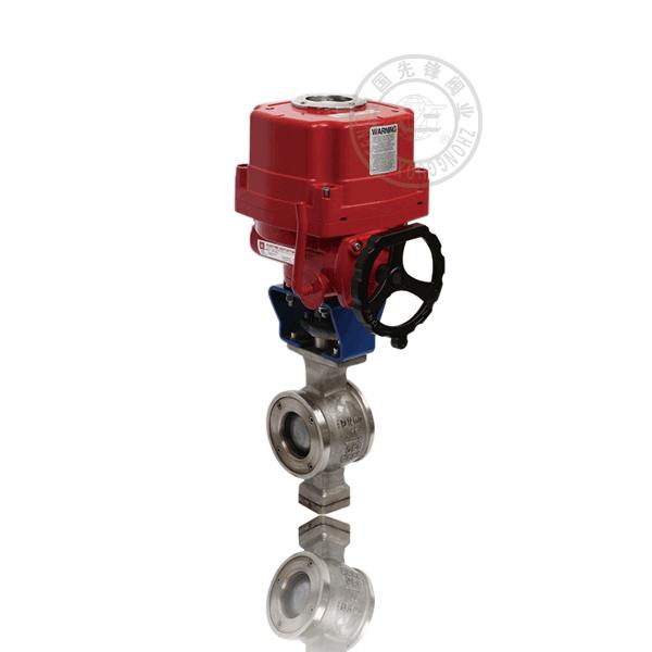VQ971F-16P/R 電動對夾固定球直通流道硬密封不銹鋼(304、316)防爆V型球閥