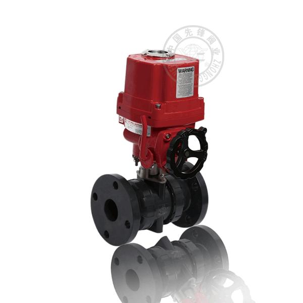 Q941F-6S 電動法蘭浮動球直通流道軟密封塑料(PVC)防爆球閥
